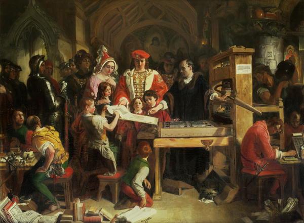 윌리엄 캑스턴(William Caxton)이 에드워드 4세에게 인쇄의 첫번째 견본을 보여주는 그림. 다니엘 맥클리스(Daniel Maclise)의 1851년 작품.